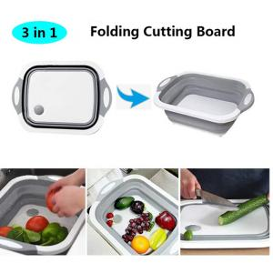 Multi-function Folding Chopping Board, 3 in 1 Foldable Cutting Board, Drain Basket, Vegetable Basin, Collapsible Dish Tub with Draining Plug for Kitchen Outdoor Travel Camping Assorted Colour