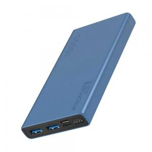 Promate 10000 Mah Compact Smart Charging Power Bank with Dual USB Output, Blue