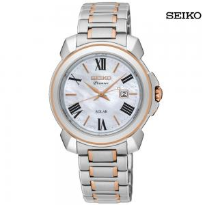 Seiko Ladies Analog Solar Stainless Steel Watch, SUT322P1