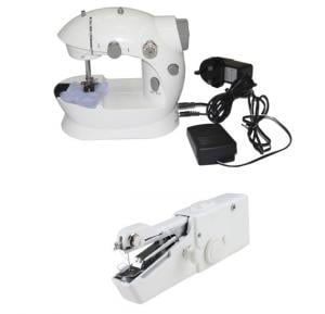 2 in 1 Bundle Portable Mini Sewing Machine, White HHE-7752 & Handy Stitch EA-806