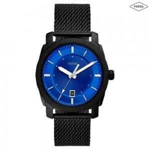 Fossil Machine Three Hand Date Black Stainless Steel Mens Watch, FS5694