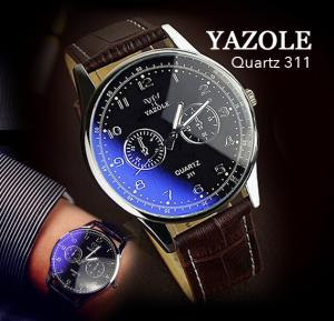 Yazole Quartz 311 Watch For Men Leather Strap