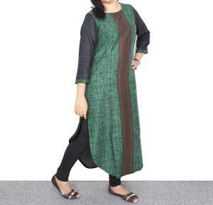 Ruky Fareen Long Top Full Sleeve Kurthees Cotton Green - RF 107 - M
