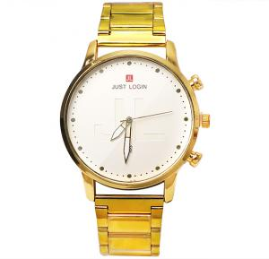 Just Login Carved Fashion watch with Date Calendar, White and Gold, P06, Royalhand