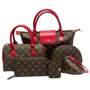 Generic 6 Piece Nylon Shoulder Bag Set, Brown
