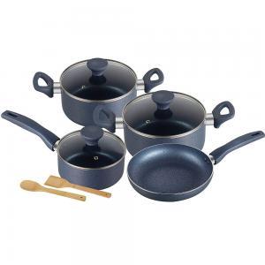 Royalford RF9844 9Pcs Aluminium Cookware Set -3 Layer Granite Coating Saucepan, Frypan, Casseroles with Lid