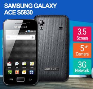 Samsung Galaxy Ace S5830 3G Smartphone, 3.5 Inch Display, Android 2.2 OS, 278MB RAM, 158MB Storage, Single SIM, Camera - Black