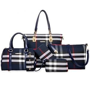 Womens 6 Piece PU Leather Elegant Plaid Tote Bag 6pcs, Blue