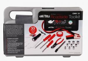 King Tools Compact Size 33 Pcs Emergency Roadside Handy Toolkit For Car, EMK33