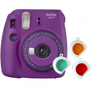Fujifilm Instax Mini 9 Instant Camera, with 60mm f/12.7 Lens, with Clear Accents, Purple
