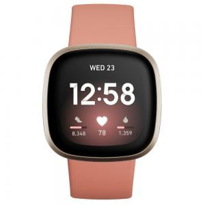 Fitbit Versa 3 Health And Fitness Smartwatch With GPS, Pink Clay with Soft Gold Aluminium