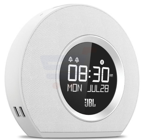 JBL Horizon Bluetooth Clock Radio With USB Charging And Ambient Light Speaker-White