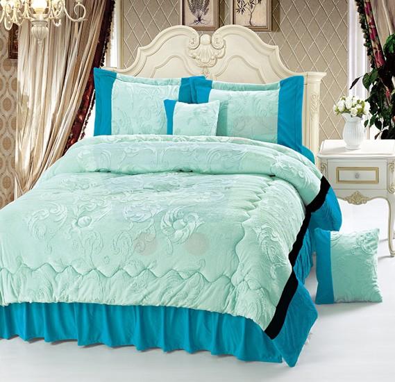 Senoures Velour Comforter 6Pcs Set King - SPV-008 Green