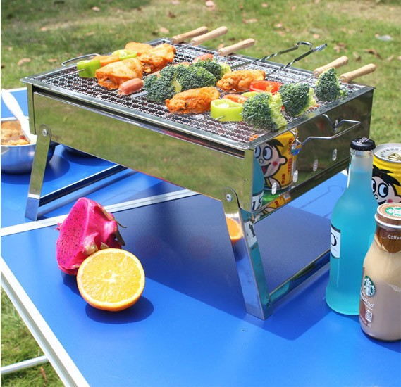 Portable Stainless Steel Barbecue Pits, Grills Folding BBQ Grill Home/Outdoor Charcoal for Outdoor Camping Traveling
