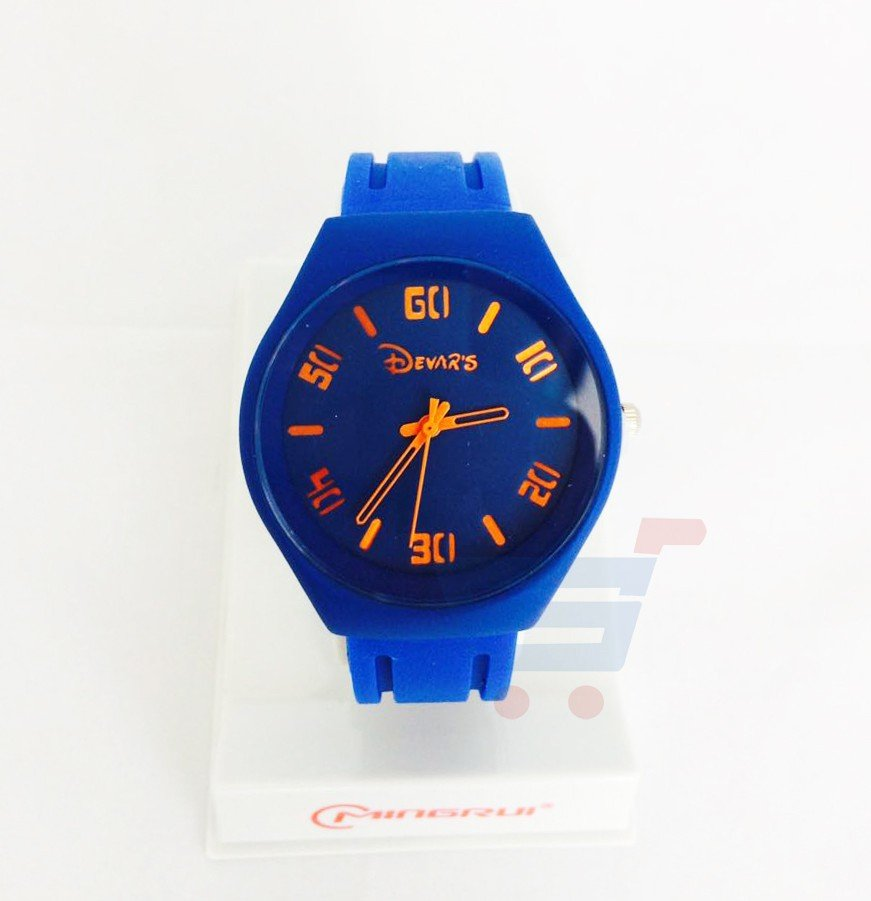 Quartz-DS-1002 Blue Rubber Strap Watch For Men