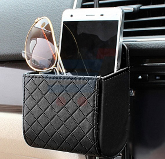 Luxury Style Multifunctional Leather Car Hanging Organizer/Phone Holder, Black