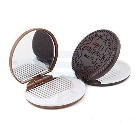 Travel and Pocket Mirror With Comb Make Up Beauty Tool, Cute Cookie Shaped