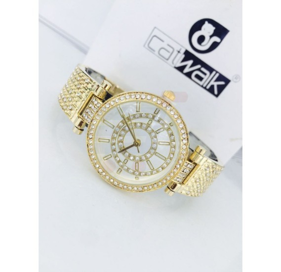 Catwalk Fashionable Cz Stone Covered Analog Stainless Steel Watch For Women  CWW - 182 - Gold