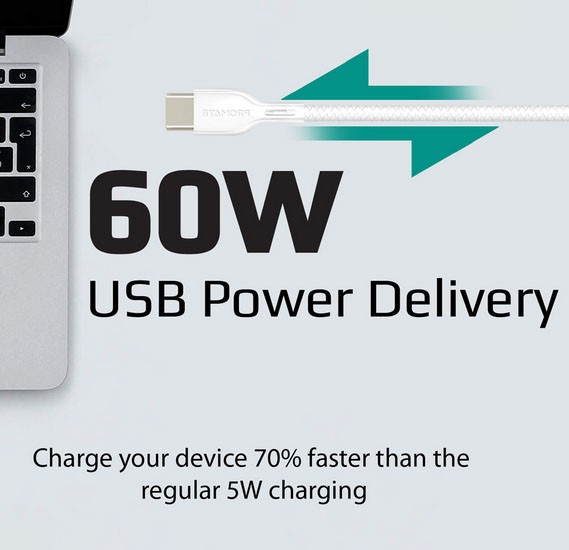 Promate USB-C to USB-C Cable, Ultra-Fast 60W Power Delivery USB Type-C to Type-C 3A Sync, PowerBeam-CC.White