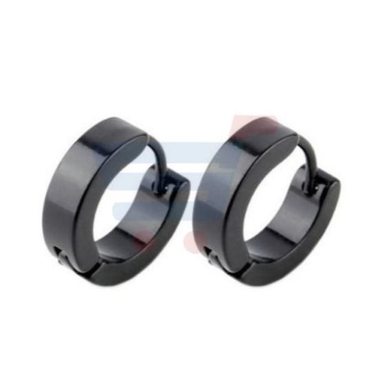 Mens Stainless Steel Hoop Earring Set Black