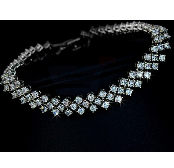 Tiara Elements White Gold Plated Bracelet With 50 Plus Transparent Crystals - UB0002