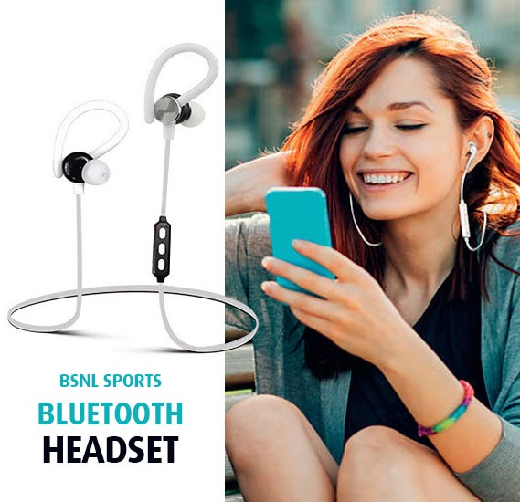 BSNL Sports Bluetooth Headset, OTE10, White
