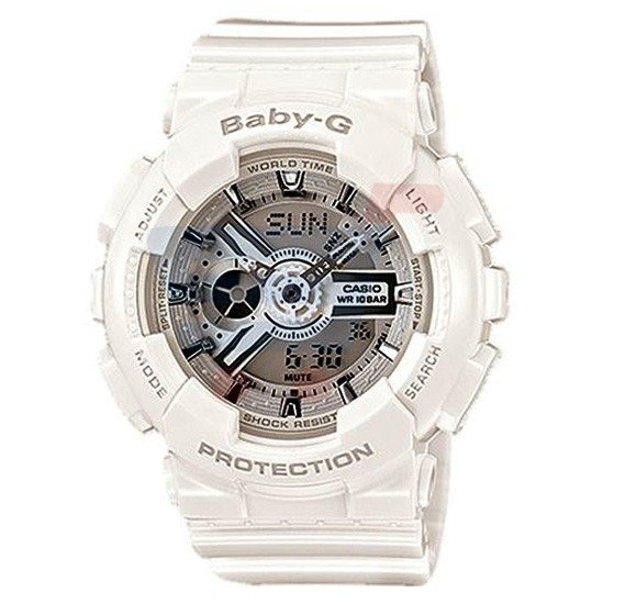 Casio Baby G-Shock Watch For Women Ladies White Digital Analog-BA-110-7A3