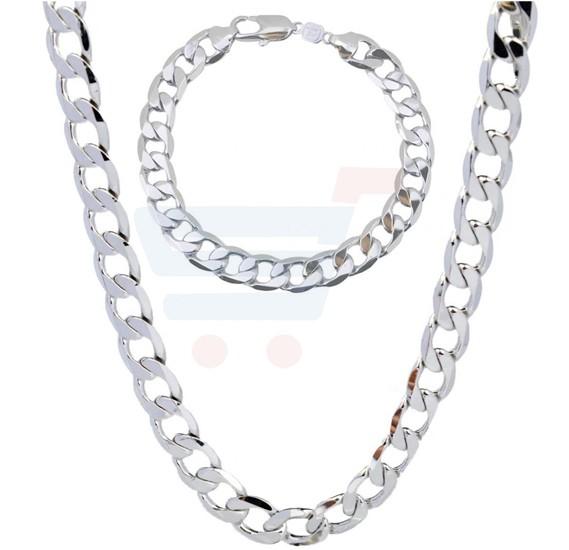 18K White Gold Filled Necklace Bracelet Solid Curb Chain Set 50cm Long For Men