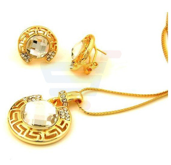 Mysmar Gold Plated Big Crystal Moon Necklace Earring Jewelry Set For Women