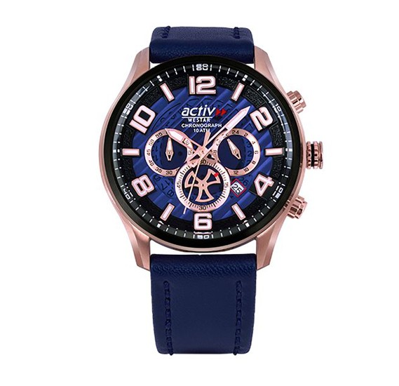 Westar 90176PBN644 Leather Round Analog Gents Watch Blue