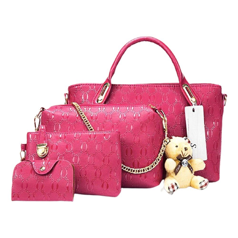Womens 4 Pcs PU Composite hand bag set with Teddy Keychain Rose