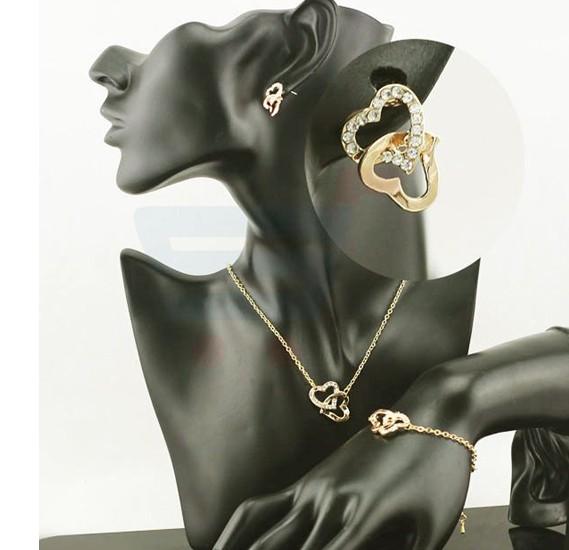 18k Gold Plated Charm Gift Czech Rhinestone Double Heart Necklace Earrings Bracelet For Women