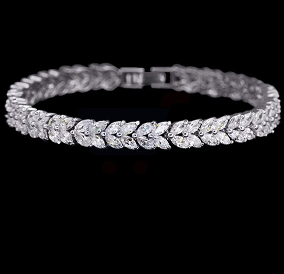 Tiara Elements White Gold Plated Bracelet With 100 Plus Crystals - UB0035