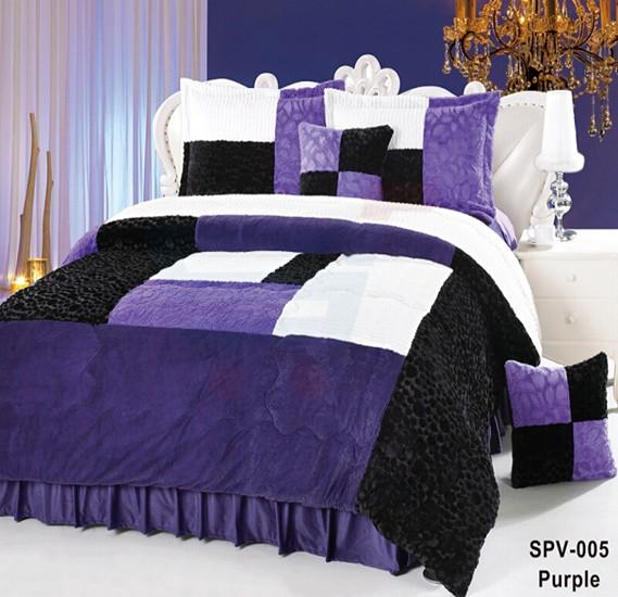 Senoures Velour Comforter 6Pcs Set King - SPV-005 Purple