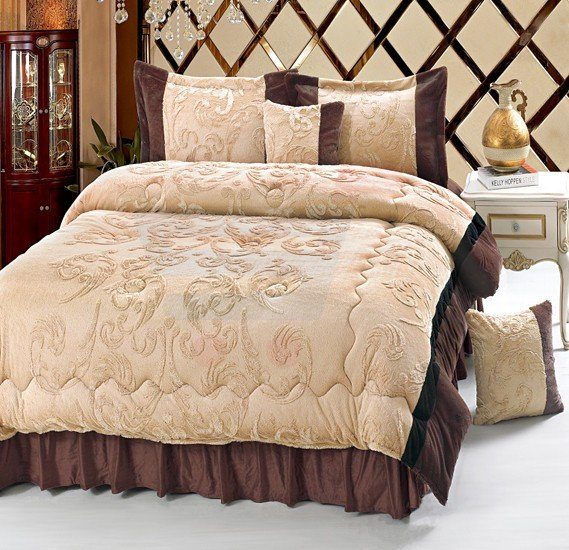 Senoures Velour Comforter 6Pcs Set King - SPV-008 Coffee