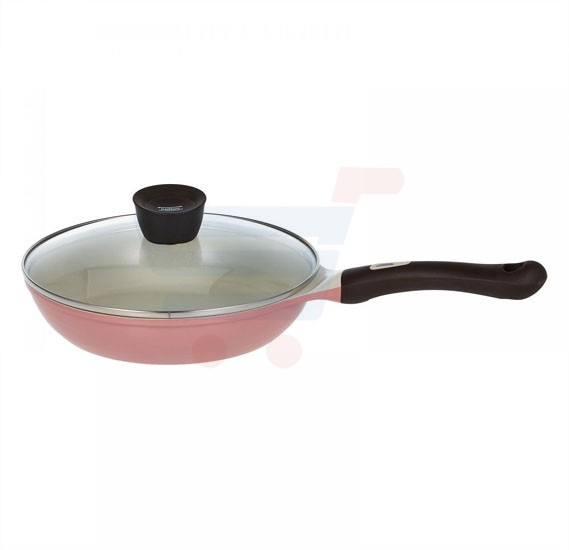 Pallas Ceramic Eco Handy Fry Pan with lid 24cm - Pink
