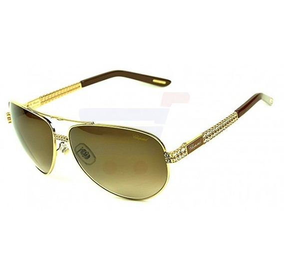 Chopard Oval Shiny Rose Gold Frame & Grey Sunglass Mirrored For Women - SCHB24S-0R26
