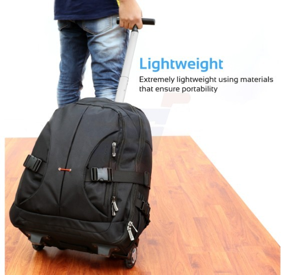 Promate Trolley Laptop Bag, 2-In-1 Portable Rolling Laptop Backpack with Adjustable Straps, Secure Storage Compartment and Water-Resistant for Travel, Luggage, Laptop Up To 15.6 Inch, Rover-TR Black
