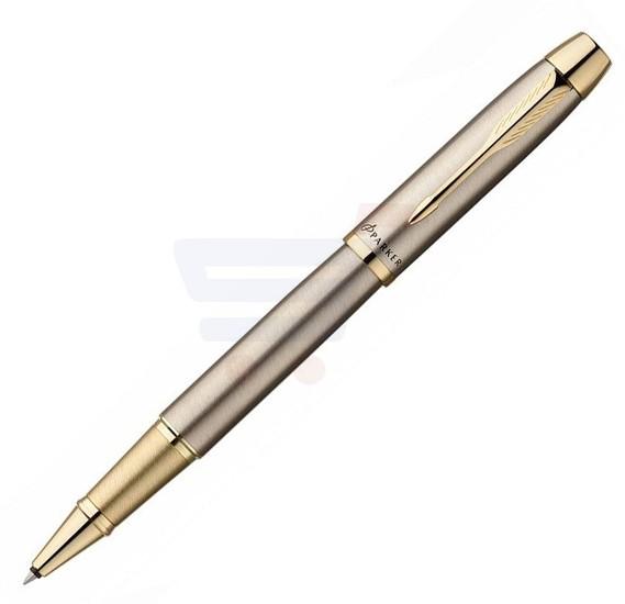 Parker IM Brushed Metal Gold Trim Rollerball Pen