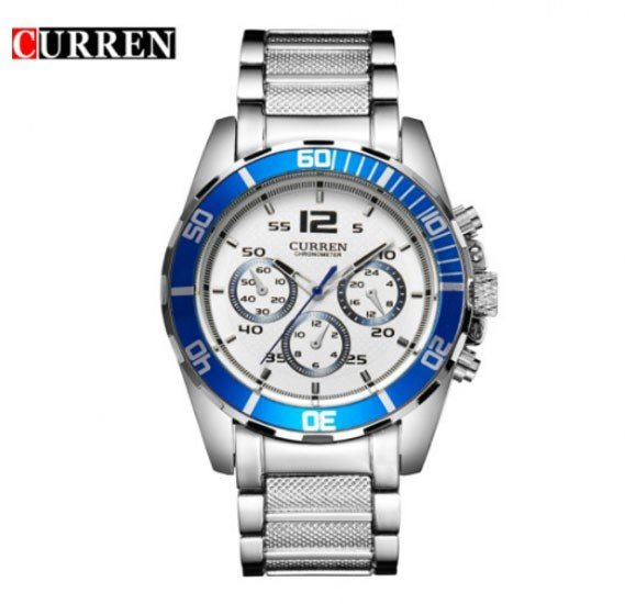 Curren Chronograph Design Stainless Steel Analog Watch For Men, 8073, Silver White