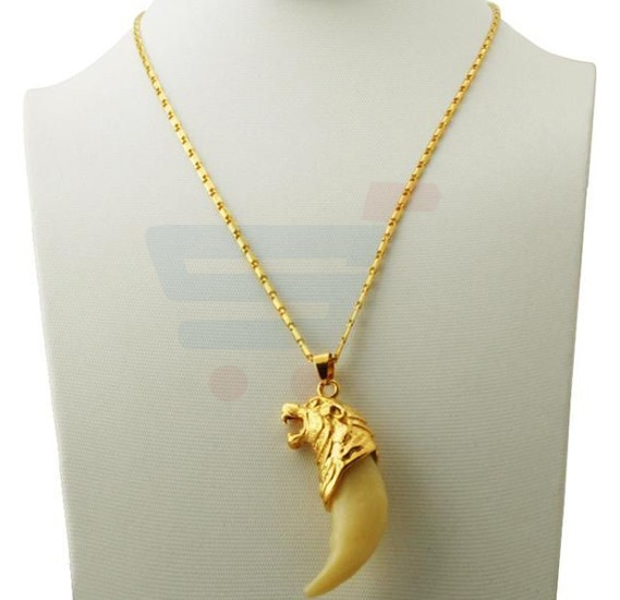 18k Gold Plated Wolf Teeth Spike Pendant Necklace With18KGP Stamp For Men