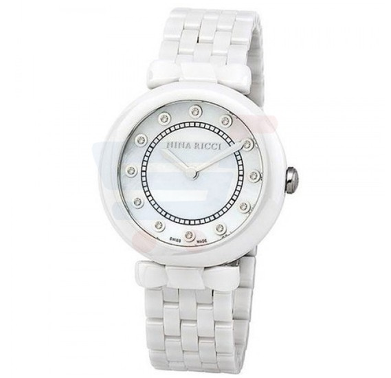Nina Ricci White Dial White Band Ladies Watch - NR054005