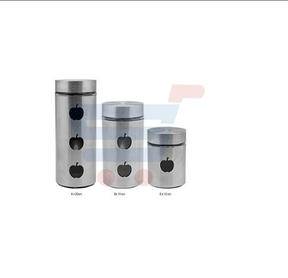 RoyalFord 3 Pieces Canister Set/Apple Hole - RF7280