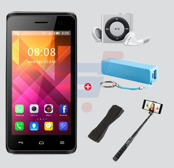 Bundle Offer Enes G2 Smartphone, Android, 4.0 Inch LCD Display, 1GB RAM, 4GB Storage And Get MP3 Player, Power Bank, Selfie Stick And Mobile Grip Free- Black