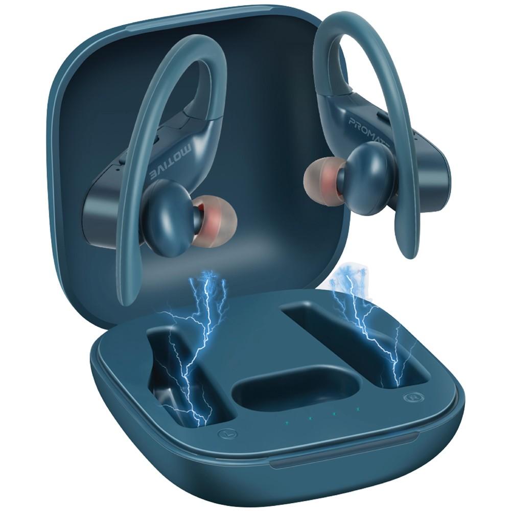 Promate True Wireless Earbuds, Sports In-Ear TWS Stereo Headset with Around-Ear Secure Fit Earphones, Motive Blue