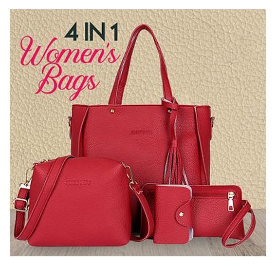 Buy Jingpin Korean Style Fashionable 4 In 1 Tassel Tote Bag for Ladies Red  Online Dubai c9542962c77ea