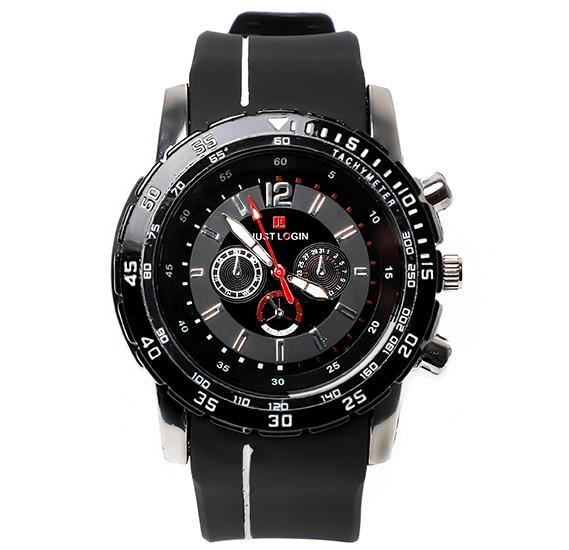 Just Login Black Strap Wrist watch, Royalhand