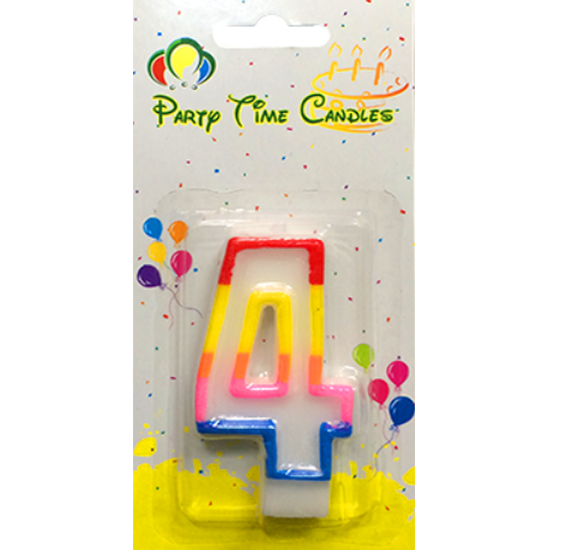 Party Time Number Candle Small 4 M028