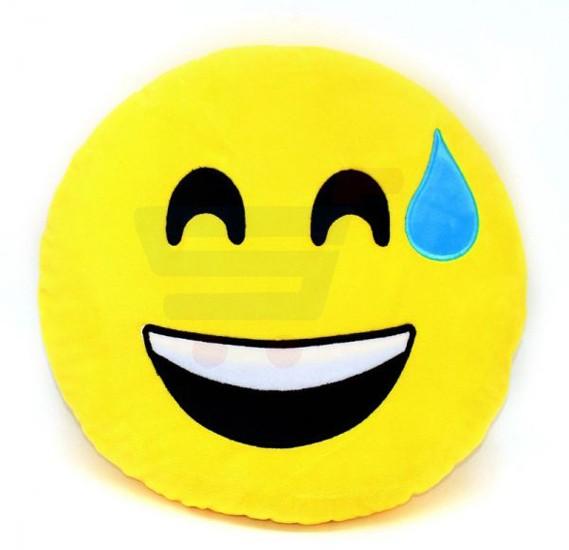Yellow Round Cushion Pillow, Emoji Happy Sweat