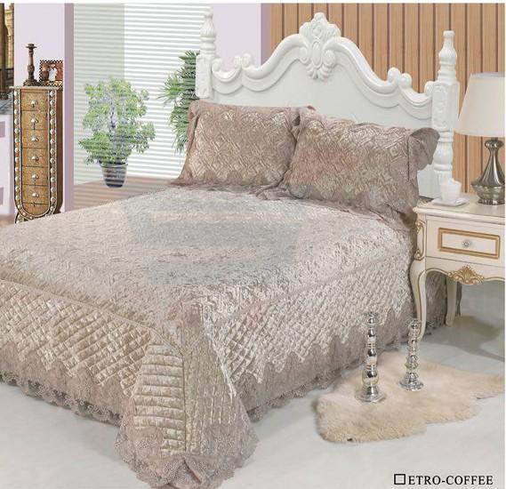 Senoures Velvet Bed Spread 3Pcs Set Double - Etro-Coffee